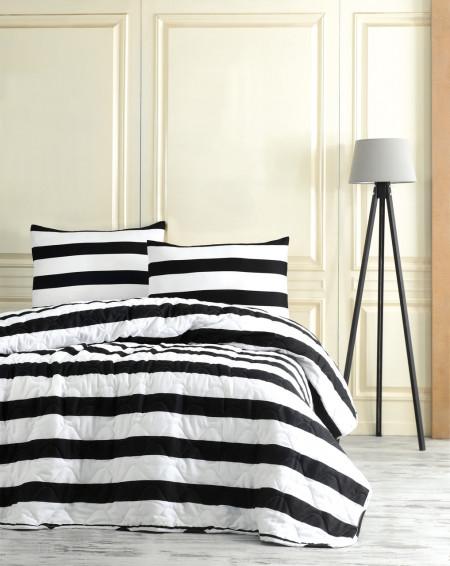 Set cuvertura de pat dubla, EnLora Home, Line, 3 piese, 65% bumbac, 35% poliester, alb/negru