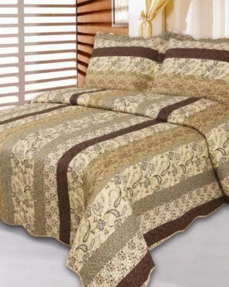 Cuvertura de pat + 2 Fete de Perne, Bumbac Tip Finet, Imprimata, Pat 2 persoane, CFI-70