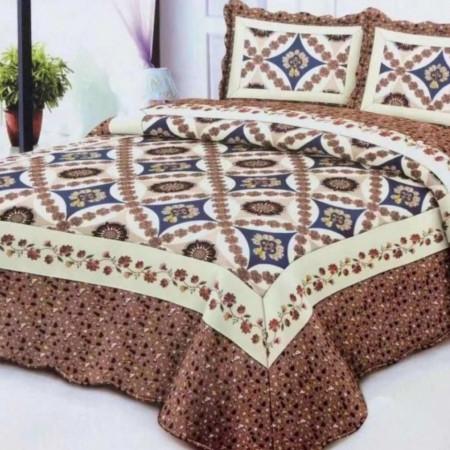 Cuvertura de pat + 2 Fete de Perne, Bumbac Tip Finet, Imprimata, Pat 2 persoane, CFI-102