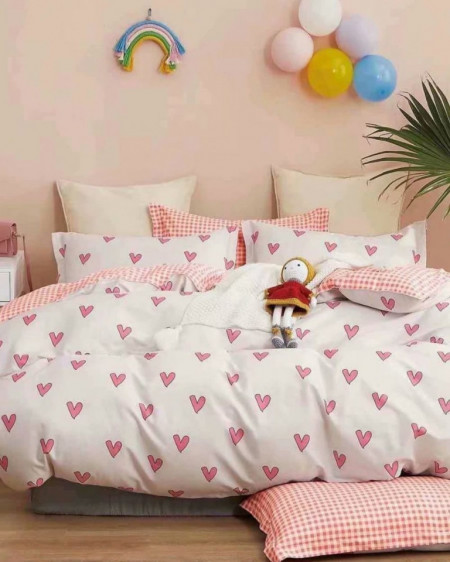 Lenjerie Bumbac, 4 Piese, Pat 2 Persoane, Pink Hearts, BL4-57