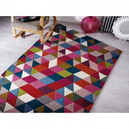 Covor Prism Pink/Multi, Flair Rugs, 120 x 170 cm, 100% lana, multicolor