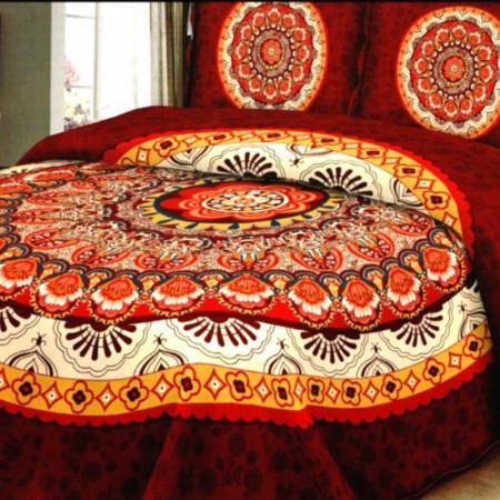 Cuvertura de pat + 2 Fete de Perne, Bumbac Tip Finet, Imprimata, Pat 2 persoane, CFI-33