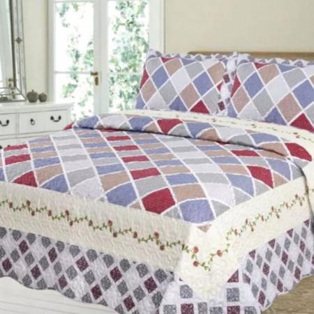 Cuvertura de pat + 2 Fete de Perne, Bumbac Tip Finet, Imprimata, Pat 2 persoane, CFI-46