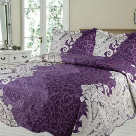 Cuvertura de pat + 2 Fete de Perne, Bumbac Tip Finet, Imprimata, Pat 2 persoane, CFI-61