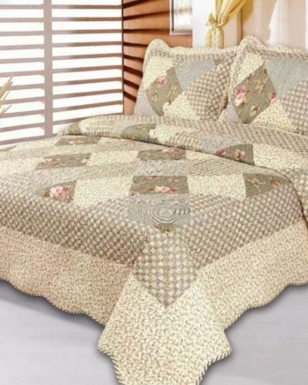 Cuvertura de pat + 2 Fete de Perne, Bumbac Tip Finet, Imprimata, Pat 2 persoane, CFI-71