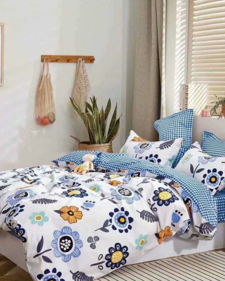 Lenjerie Bumbac, 4 Piese, Pat 2 Persoane, Blue Flowers, BL4-69