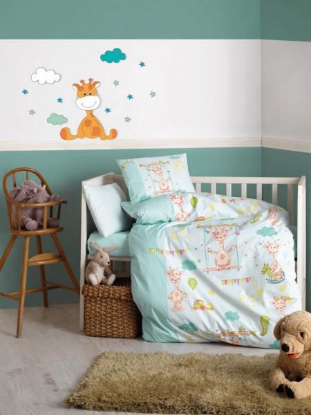 Lenjerie de pat pentru copii Little Giraffe, Cotton Box, 4 piese, 120 x 150 cm, 100% bumbac ranforce, multicolora