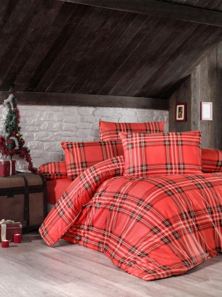 Lenjerie de pat pentru doua persoane, Victoria, Linda, 4 piese, 100% bumbac ranforce, rosu/alb/negru