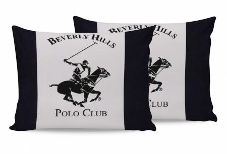 Set 2 fete de perna 50x70, 100% bumbac, Beverly Hills Polo Club, Alb/Bleumarin/Crem
