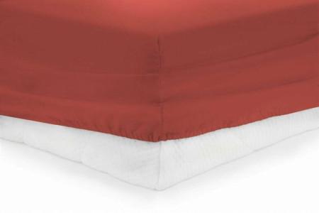 Cearceaf de pat cu elastic Red Heinner, 90x200 cm, 100% bumbac, rosu