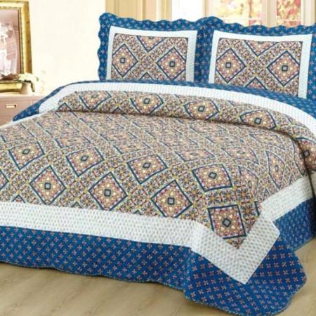 Cuvertura de pat + 2 Fete de Perne, Bumbac Tip Finet, Imprimata, Pat 2 persoane, CFI-49