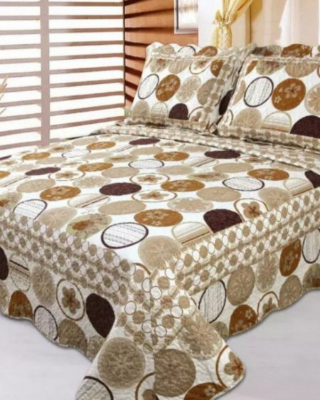 Cuvertura de pat + 2 Fete de Perne, Bumbac Tip Finet, Imprimata, Pat 2 persoane, CFI-62