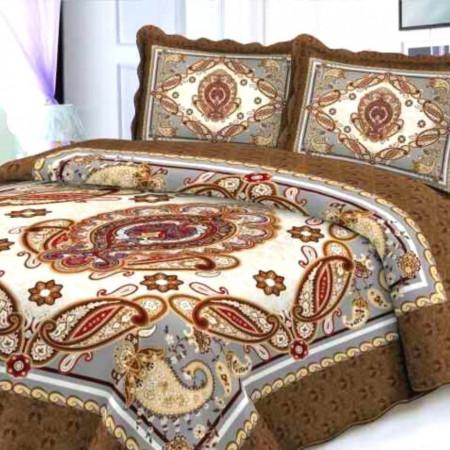 Cuvertura de pat + 2 Fete de Perne, Bumbac Tip Finet, Imprimata, Pat 2 persoane, CFI-16