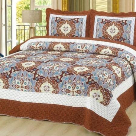 Cuvertura de pat + 2 Fete de Perne, Bumbac Tip Finet, Imprimata, Pat 2 persoane, CFI-50