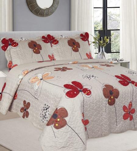 Cuvertura de pat + 2 Fete de Perne, Bumbac Tip Finet, Imprimata, Pat 2 persoane, CFI-94