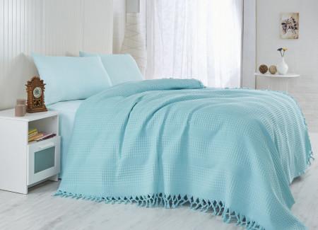 Cuvertura de pat, Saheser, 115 - Turquoise, 180x240 cm, 100% bumbac, 340 gr/m², turcoaz