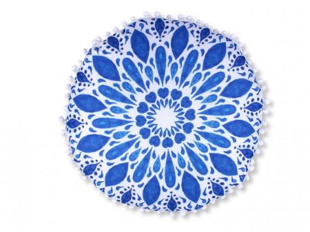 Fata de perna decorativa Island Round, Fashion Goods, 45x45 cm, poliester, albastru