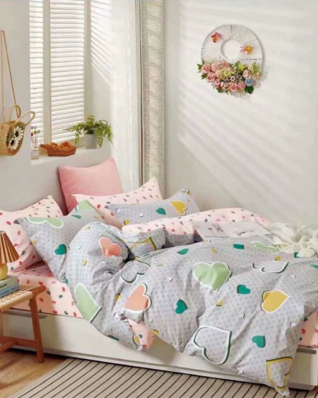 Lenjerie Bumbac, 4 Piese, Pat 2 Persoane, Adorable, BL4-50