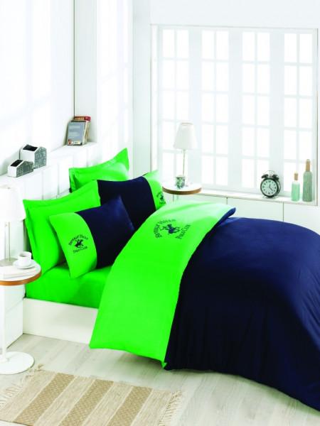 Lenjerie de pat dubla, 100% bumbac satinat, Beverly Hills Polo Club, bleumarin/verde