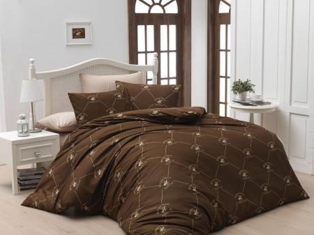 Lenjerie de pat pentru o persoana, Brown, Beverly Hills Polo Club, 3 piese, 160 x 240 cm, 100% bumbac ranforce, maro