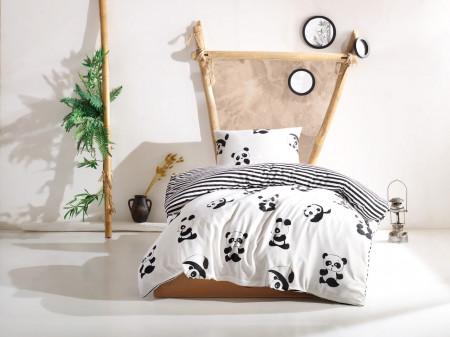 Lenjerie de pat pentru o persoana, EnLora Home, Panda Black White, 2 piese, policoton, alb/negru