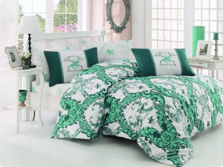 Lenjerie de pat pentru o persoana, Green Elegance, Beverly Hills Polo Club, 3 piese, 160 x 240 cm, 100% bumbac ranforce