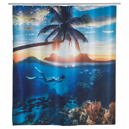 Perdea de dus Underwater, Wenko, 180x200 cm, 100% poliester, multicolor