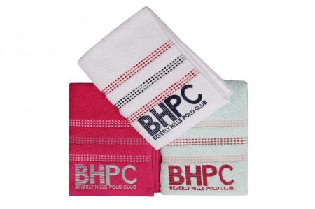 Set 3 prosoape de maini, Beverly Hills Polo Club, Botanik, 50x90 cm, 100% bumbac, menta/fucsia/alb