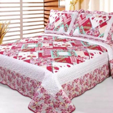 Cuvertura de pat + 2 Fete de Perne, Bumbac Tip Finet, Imprimata, Pat 2 persoane, CFI-36