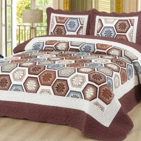 Cuvertura de pat + 2 Fete de Perne, Bumbac Tip Finet, Imprimata, Pat 2 persoane, CFI-51