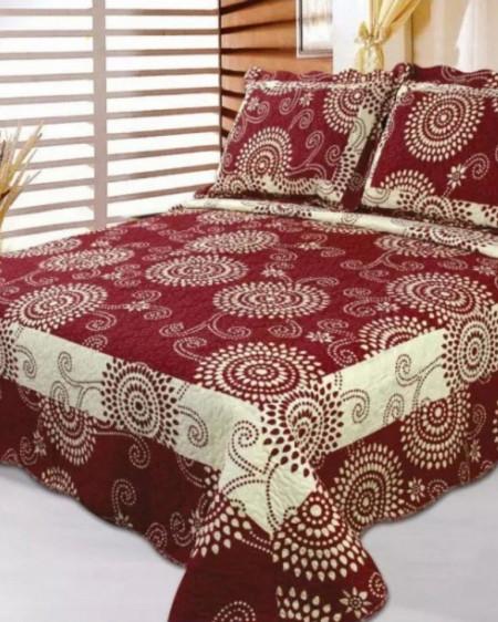 Cuvertura de pat + 2 Fete de Perne, Bumbac Tip Finet, Imprimata, Pat 2 persoane, CFI-64