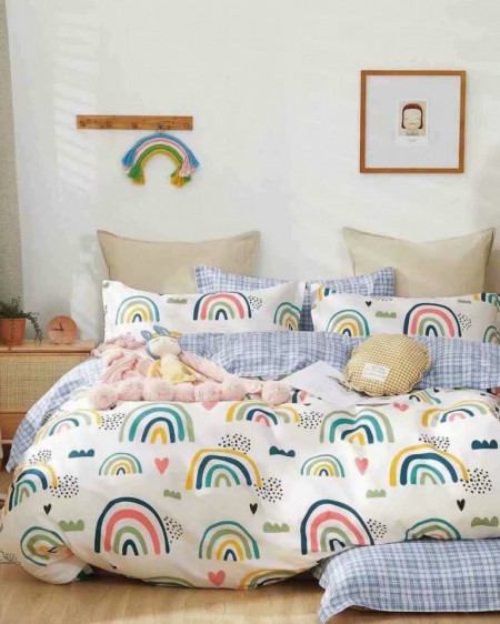 Lenjerie Bumbac, 4 Piese, Pat 2 Persoane, Rainbow, BL4-51