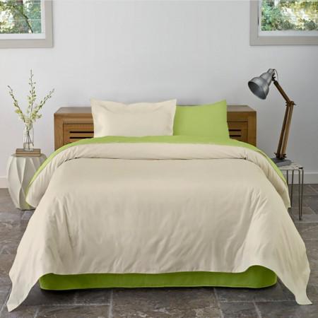 Lenjerie de pat dubla King Size Lime & Vanilla, 4 piese, 220 x 250 cm, 100% bumbac, verde lime/bej