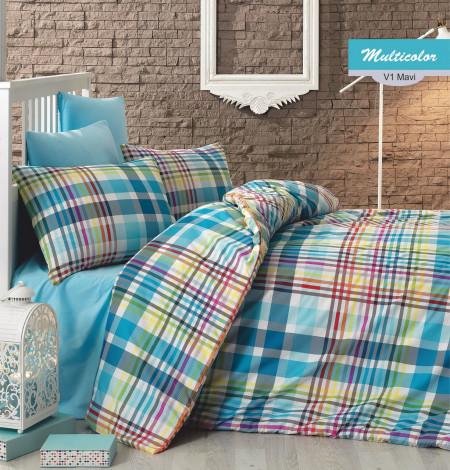 Lenjerie de pat dubla Multicolor, Majoli Home Collection, 4 piese, 200x220 cm, 100% bumbac ranforce, multicolor