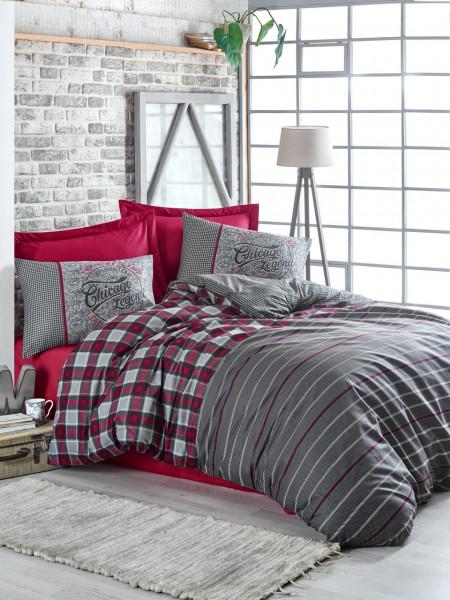 Lenjerie de pat pentru o persoana, Cotton Box, Jonas Claret Red, 3 piese, bumbac ranforce, multicolor