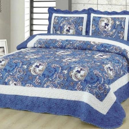 Cuvertura de pat + 2 Fete de Perne, Bumbac Tip Finet, Imprimata, Pat 2 persoane, CFI-52