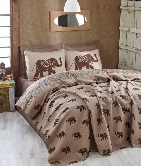 Cuvertura de pat dubla, Eponj Home, Fil Brown, 200x235 cm, 100% bumbac, maro