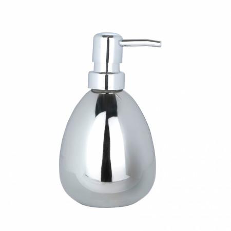 Dozator sapun lichid Polaris Chrome, Wenko, 9.4 x 16.5 x 10 cm, ceramica, argintiu