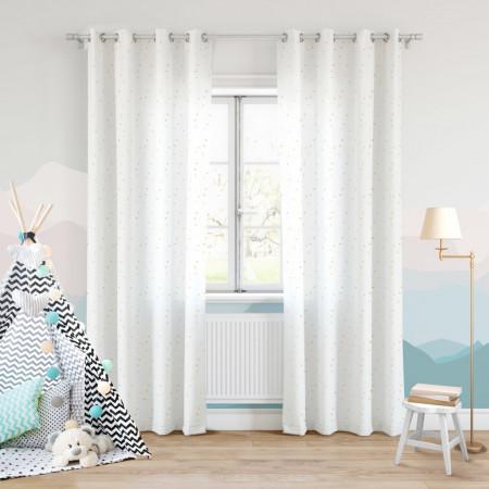 Draperie Dots Zlota, Fashion Goods, 140x250 cm, poliester, alb/auriu