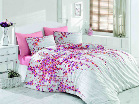 Lenjerie de pat dubla Time Pink, Majoli Home Collection, 4 piese, 200x220 cm, 100% bumbac ranforce, multicolor