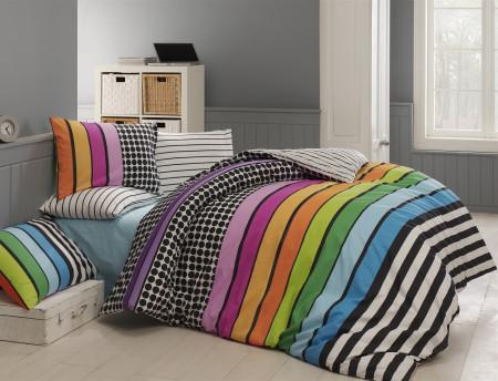 Lenjerie de pat pentru o persoana Colored, Majoli Home Collection, 3 piese, 160x240 cm, 100% bumbac ranforce, multicolor
