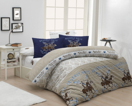 Lenjerie de pat pentru o persoana, Serenity, Beverly Hills Polo Club, 3 piese, 160 x 240 cm, 100% bumbac ranforce, multicolora