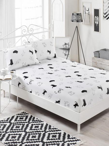 Set cearceaf si 2 fete de perna, EnLora Home, Patte Black White, 160x200 cm, policoton, alb/negru