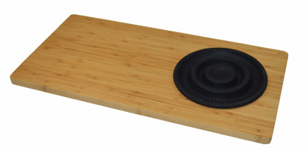 Tocator bambus Jocca cu palnie din silicon Black 29 x 59 x 1.8 cm