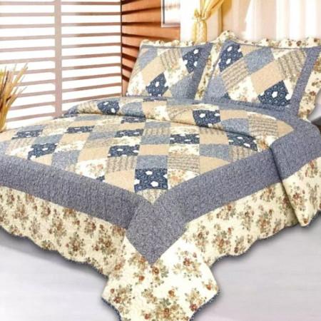 Cuvertura de pat + 2 Fete de Perne, Bumbac Tip Finet, Imprimata, Pat 2 persoane, CFI-39