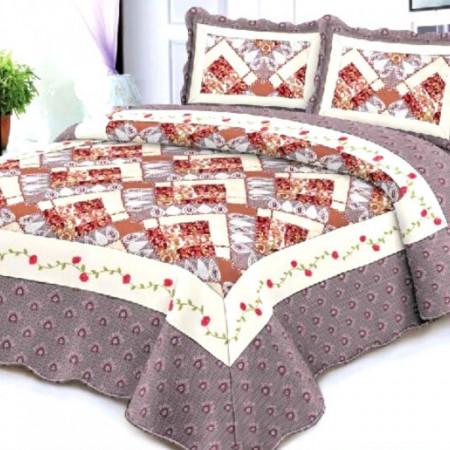 Cuvertura de pat + 2 Fete de Perne, Bumbac Tip Finet, Imprimata, Pat 2 persoane, CFI-53