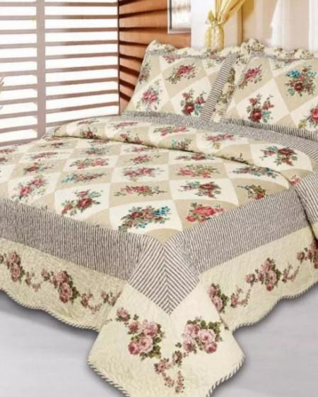 Cuvertura de pat + 2 Fete de Perne, Bumbac Tip Finet, Imprimata, Pat 2 persoane, CFI-66