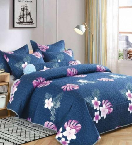 Cuvertura de pat + 2 Fete de Perne, Bumbac Tip Finet, Imprimata, Pat 2 persoane, CFI-76