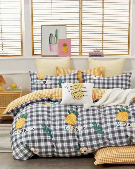 Lenjerie Bumbac, 4 Piese, Pat 2 Persoane, Pineapple, BL4-74