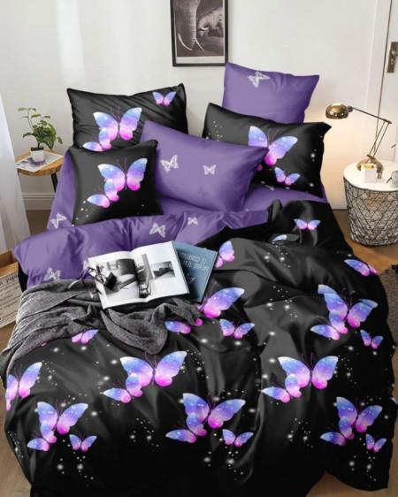 Lenjerie de Pat 1 Persoana, Finet, 4 Piese, Lilac Butterflies, FNJ1-92